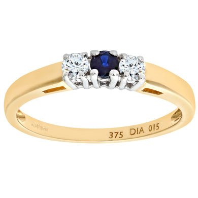9ct Yellow Gold Diamond and Sapphire 3 Stone Ladies Ring