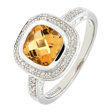 Load image into Gallery viewer, 9ct White Gold Cushion Shaped Citrine And Diamond Ring