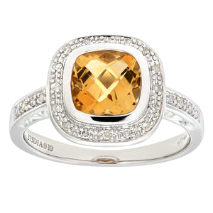 9ct White Gold Cushion Shaped Citrine And Diamond Ring
