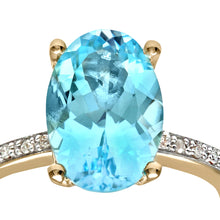 Load image into Gallery viewer, Ladies 9ct Yellow Gold Diamond and Blue Topaz Ring