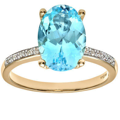 Ladies 9ct Yellow Gold Diamond and Blue Topaz Ring