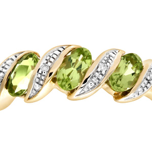 9ct Yellow Gold Diamond and Peridot Eternity Ladies Ring