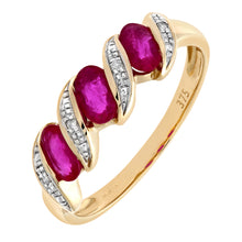 Load image into Gallery viewer, 9ct Yellow Gold Diamond and Ruby Eternity Ladies Ring