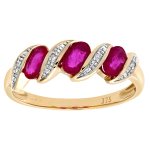 9ct Yellow Gold Diamond and Ruby Eternity Ladies Ring