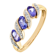 Load image into Gallery viewer, 9ct Yellow Gold Tanzanite and Diamond Twist Eternity Ring
