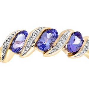 9ct Yellow Gold Tanzanite and Diamond Twist Eternity Ring