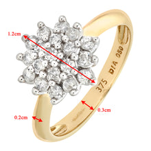 Load image into Gallery viewer, 9ct Yellow Gold Diamond Cluster Ladies Ring