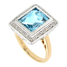 Load image into Gallery viewer, 9ct Yellow Gold Damond and Blue Topaz Cluster Ladies Ring