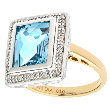 9ct Yellow Gold Damond and Blue Topaz Cluster Ladies Ring