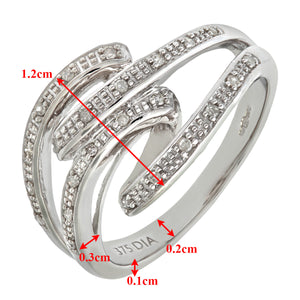 9ct White Gold 0.10ct Diamond Fancy Crossover Ring