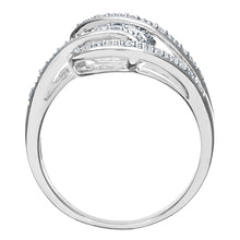 Load image into Gallery viewer, 9ct White Gold 0.10ct Diamond Fancy Crossover Ring