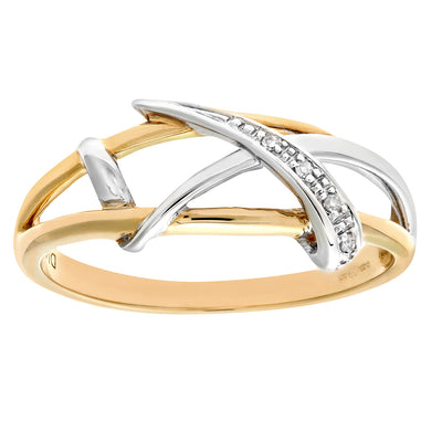 Ladies 9ct Yellow Gold Fancy Diamond Crossover Ring