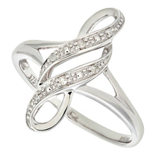 Load image into Gallery viewer, Ladies 9ct White Gold Fancy Diamond Ring