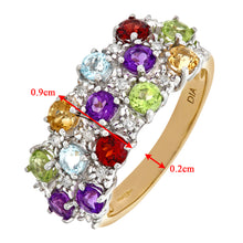 Load image into Gallery viewer, Ladies 9ct Yellow Gold Diamond & Multi Gem Stone Dress Ring