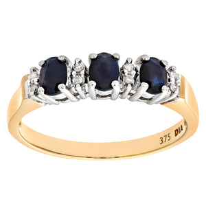 9ct Yellow Gold Diamond and Sapphire Eternity Ladies Ring
