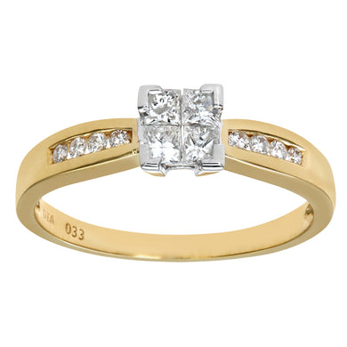 18ct Yellow Gold 33Pt 4 Diamonds Solitare Look With Diamond Shoulders Engagement Ring