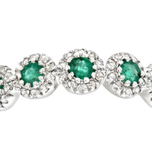 Load image into Gallery viewer, 9ct White Gold Diamond and Emerald Eternity Ladies Ring
