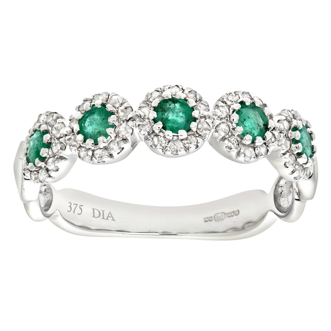 9ct White Gold Diamond and Emerald Eternity Ladies Ring