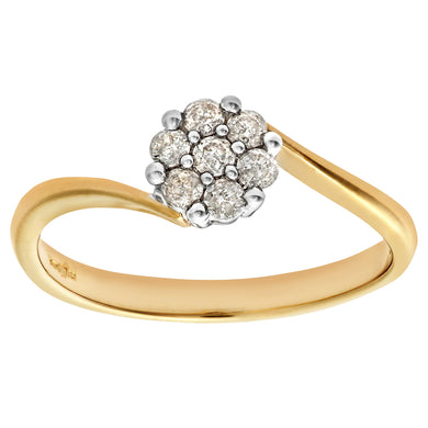 Ladies 9ct Yellow Gold 20pts Diamond Fancy Cluster Ring