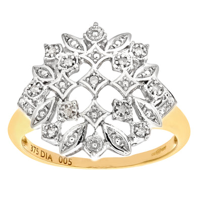 9ct Yellow Gold Diamond Fancy Cluster Ladies Ring