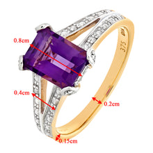 Load image into Gallery viewer, 9ct Yellow Gold Single Stone Amethyst with Diamond Set Collette and Shoulders Ladies Ring