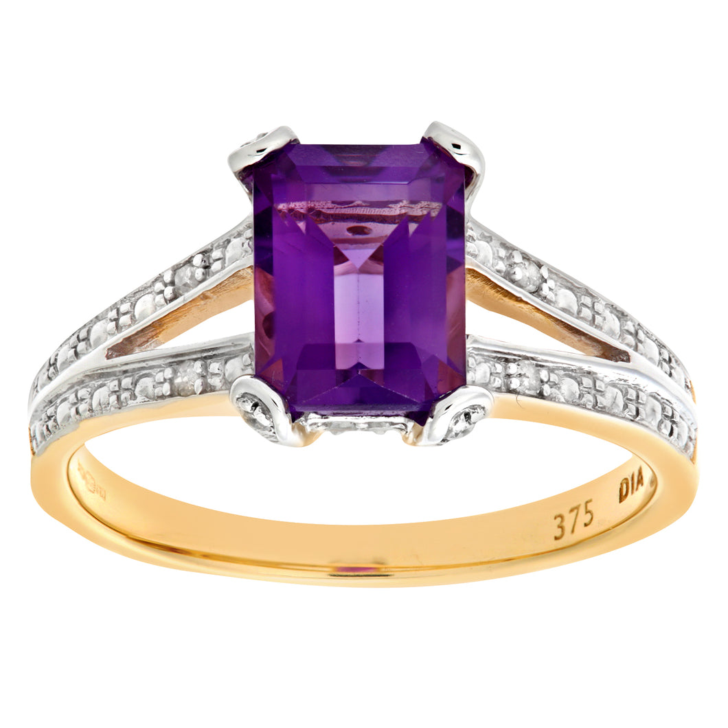 9ct Yellow Gold Single Stone Amethyst with Diamond Set Collette and Shoulders Ladies Ring