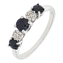 Load image into Gallery viewer, 9ct White Gold Diamond and Sapphire Eternity Ladies Ring