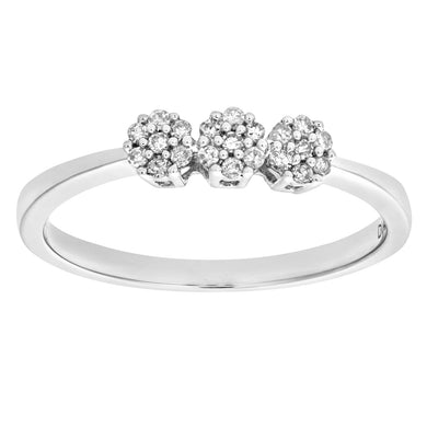 Ladies 9ct White Gold 10pts Diamond Fancy Cluster Ring
