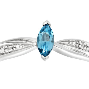 Ladies 9ct White Gold Diamond and Marquise Blue Topaz Ring
