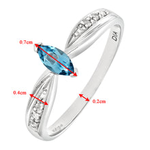 Load image into Gallery viewer, Ladies 9ct White Gold Diamond and Marquise Blue Topaz Ring