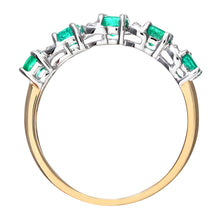 Load image into Gallery viewer, 9ct Yellow Gold Emerald And Diamond Eternity Ring