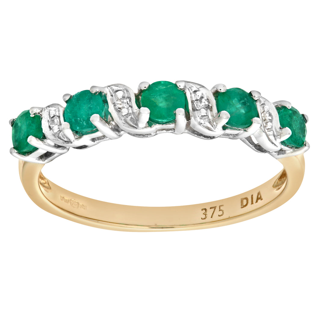 9ct Yellow Gold Emerald And Diamond Eternity Ring