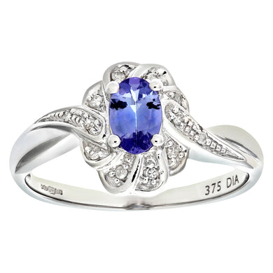 9ct White Gold Tanzanite and Diamond Flower Cluster Ring