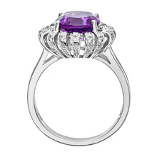 Load image into Gallery viewer, 9ct White Gold Amethyst And Diamond Flower Cluster Ring