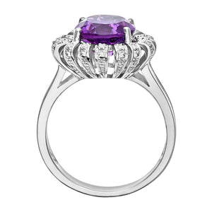 9ct White Gold Amethyst And Diamond Flower Cluster Ring