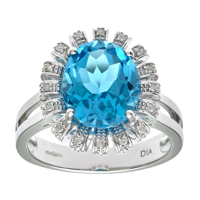 9ct White Gold Blue Topaz And Diamond Flower Cluster Ring