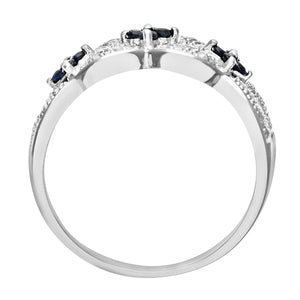 9ct White Gold Sapphire And Diamond Flower Ring