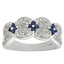 Load image into Gallery viewer, 9ct White Gold Sapphire And Diamond Flower Ring