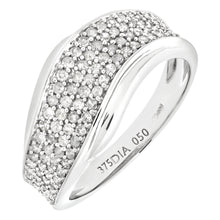 Load image into Gallery viewer, 9ct White Gold 050ct Diamond Half Eternity Wave Ring