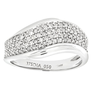 9ct White Gold 050ct Diamond Half Eternity Wave Ring