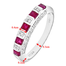 Load image into Gallery viewer, Ladies 9ct White Gold Diamond and Ruby Eternity Ring