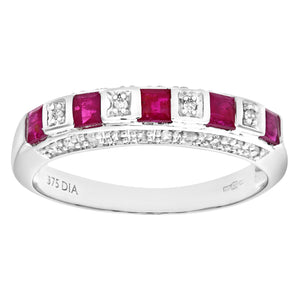 Ladies 9ct White Gold Diamond and Ruby Eternity Ring