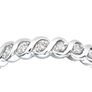 Ladies 9ct White Gold Fancy 10pts Diamond Eternity Ring