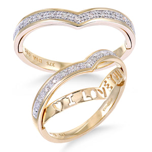 9ct Yellow Gold 'I Love You' Diamond Wishbone Ring