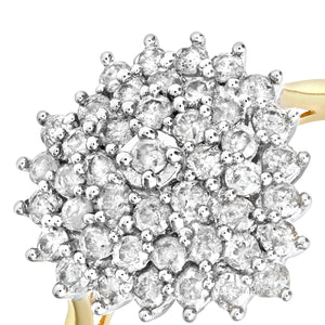 18ct Yellow Gold 1ct Heart Shaped Diamond Cluster Ring