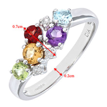 Load image into Gallery viewer, Ladies 9ct White Gold Diamond & Multi Gem Stone Dress Ring