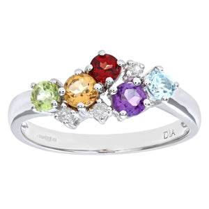 Ladies 9ct White Gold Diamond & Multi Gem Stone Dress Ring