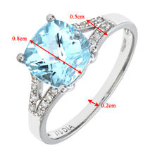 Load image into Gallery viewer, 9ct White Gold Cushion Cut Blue Topaz Ring With Diamond Shoulders