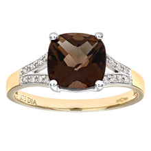 Load image into Gallery viewer, 9ct Yellow Gold Cushion Cut Smokey Ring Wth Diamond Shoulders