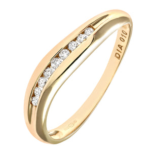 9ct Yellow Gold 0.10ct Diamond Channel Set Wave Eternity Ring